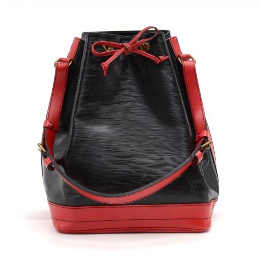 65d526ae8948 Louis Vuitton Noe Large Bicolor Red   Black Epi Leather Shoulder Bag