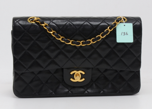 072efb09b21e Chanel 136 Chanel 2.55 10inch Double Flap Black Quilted Leather ...