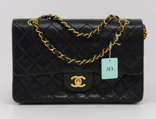 01b9c46c72c625 Chanel 163 Chanel 2.55 10inch Double Flap Black Quilted Leather ...
