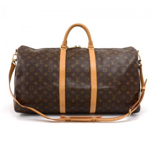 4374ec9160f1 Vintage Louis Vuitton Keepall 55 Bandouliere Monogram Canvas Duffel Travel  Bag + Strap