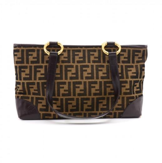 66ccd7db40cd FENDI Vintage Fendi Tobacco Zucca   Brown Leather Shoulder Bag