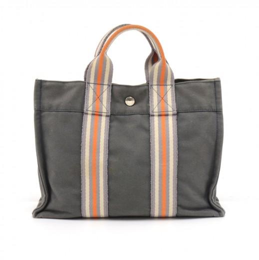 fe54ff654e Hermes Hermes Sac Fourre-Tout Gray Cotton Canvas Orange Striped Web ...