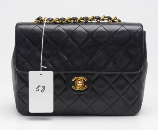 d4b70da02205 Chanel P-58 Chanel 8inch Flap Black Quilted Leather Shoulder Mini Bag