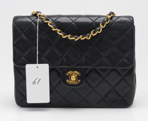 e4ef631ef24c Chanel P-61 Chanel 8inch Flap Black Quilted Leather Shoulder Mini Bag