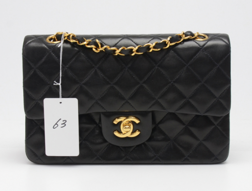 ff4b43f250ff Chanel P-63 Chanel 2.55 Double Flap Black Quilted Leather Shoulder ...