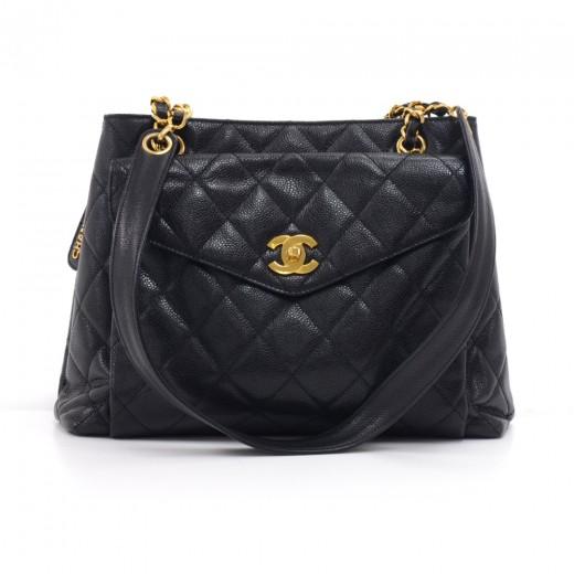 9cd2130c51f4 Vintage Chanel Black Caviar Leather Front Envelope Pocket Chain Shoulder Bag