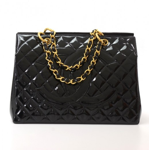 Chanel Vintage Chanel GST Grand Shopping Tote Black Quilted Patent ... 78ef371cc0dca