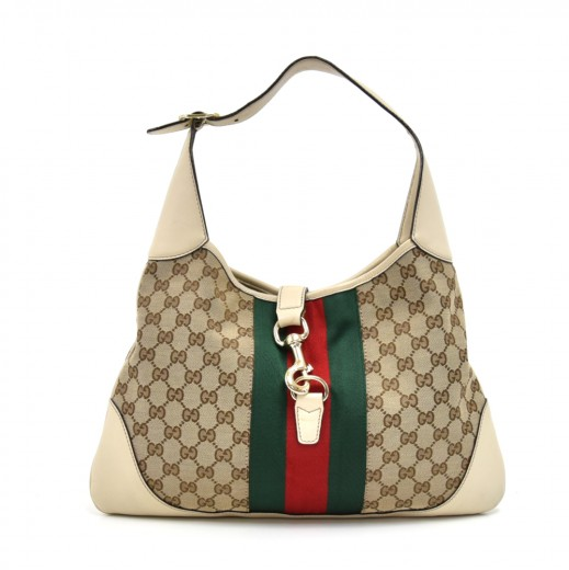 b0c70971 Gucci Gucci Jackie Original GG Canvas & Off White Leather Shoulder ...