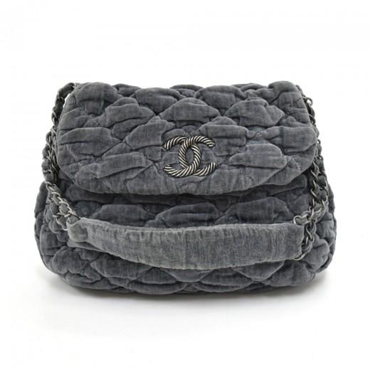 573344d4bb49 Chanel Chanel Bubble Bag Grey Quilted Velvet Shoulder Bag -Limited Ed