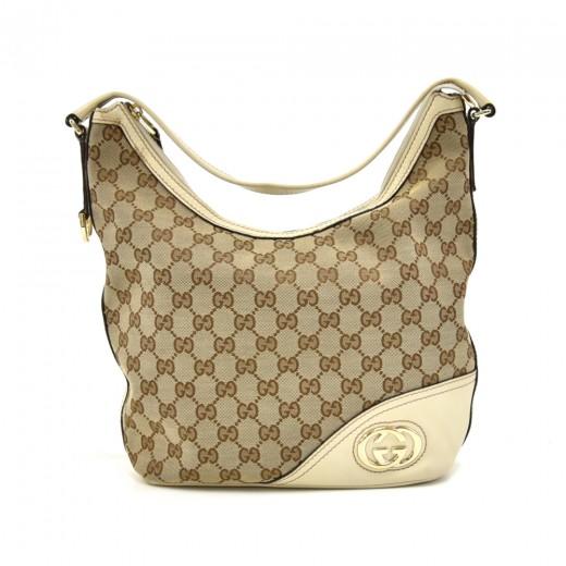 ec798b5eec8f Gucci Gucci Britt Beige GG Canvas & Off-white Leather Logo Hobo Bag