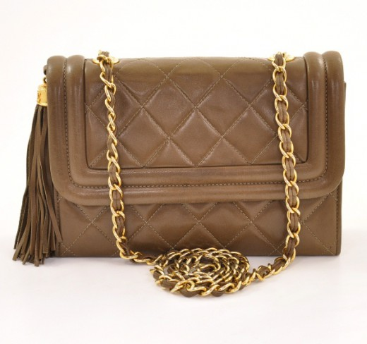 4c8a06283621b1 Chanel Chanel Shoulder Mini Quilted Brown Leather CC Bag With Fringe ...