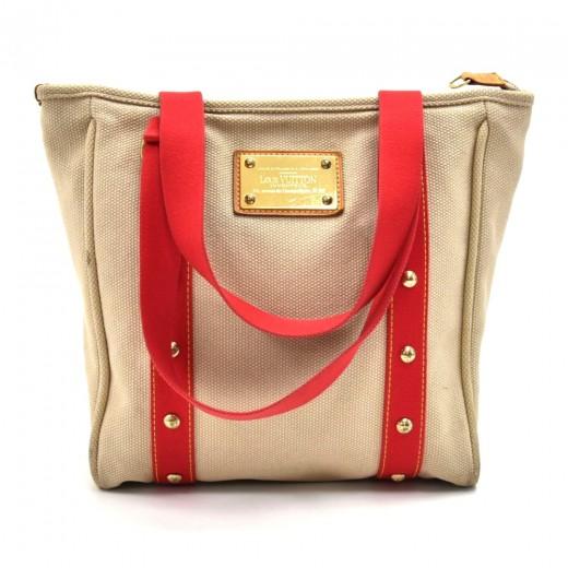 5899848f77f2 Louis Vuitton Louis Vuitton Cabas MM Beige x Red Antigua Canvas Tote ...