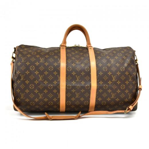 8f4ce4eca196 Vintage Louis Vuitton Keepall 55 Bandouliere Monogram Canvas Duffel Travel  Bag + Strap