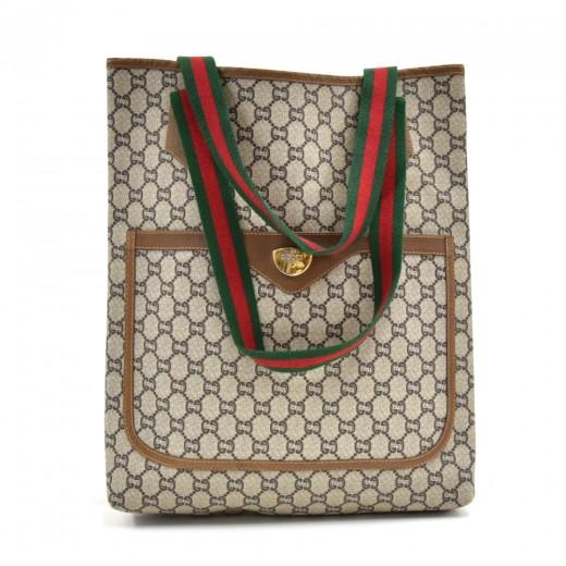 9eb5485265c Vintage Gucci Plus Beige GG Plus Coated Canvas Shoulder Tote Bag -Limited