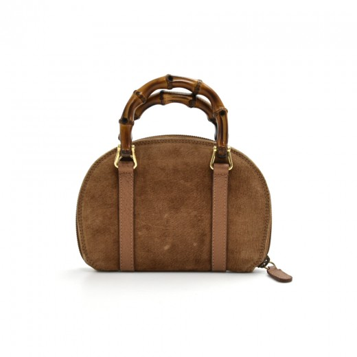 f885f24f701013 Gucci Gucci Brown Suede Leather Bamboo Handle Mini Wallet Handbag