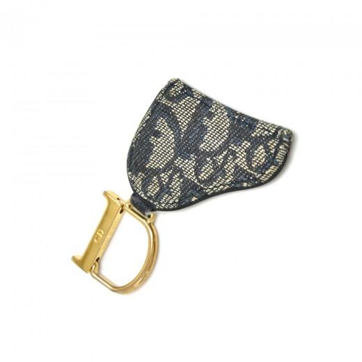 9a37ac529 Dior Christian Dior Navy Monogram Logo Saddle Bag Shaped Key Ring