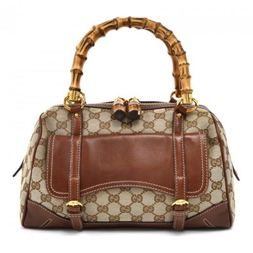 c8c1f11dbd7 Gucci Gucci Bamboo Handles GG Canvas Front Pocket Small Boston Bag