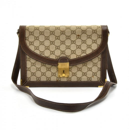 44f72496a2708a Vintage Gucci GG Beige Canvas & Brown Leather 2 Way Flap Bag-1950s