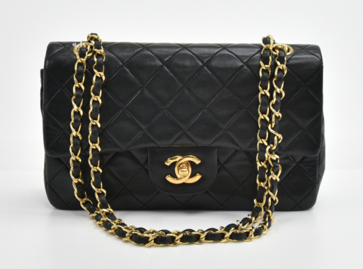 ab3895c10b3b Chanel S-20 Chanel 2.55 Double Flap Black Quilted Leather Shoulder ...