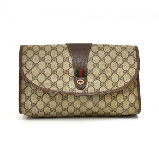edb73e4daf9f Vintage Gucci Accessory Collection GG Supreme Coated Canvas Clutch Bag