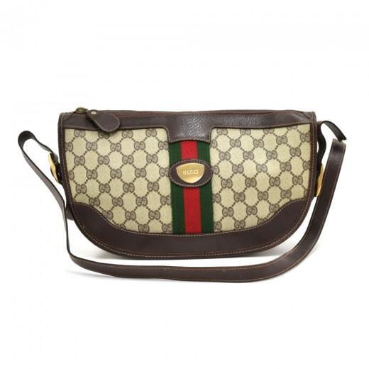 acb9a37bd32e Gucci Vintage Gucci Brown Monogram Canvas Clutch Pochette Bag