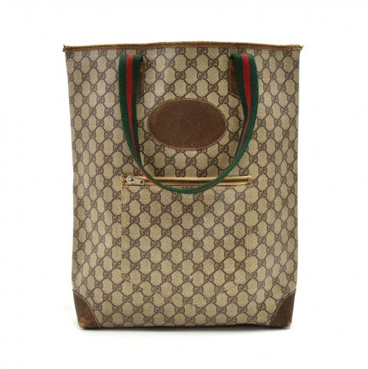 19234e4163d30b Vintage Gucci Accessory Collection Beige GG Supreme Coated Canvas Tote Bag