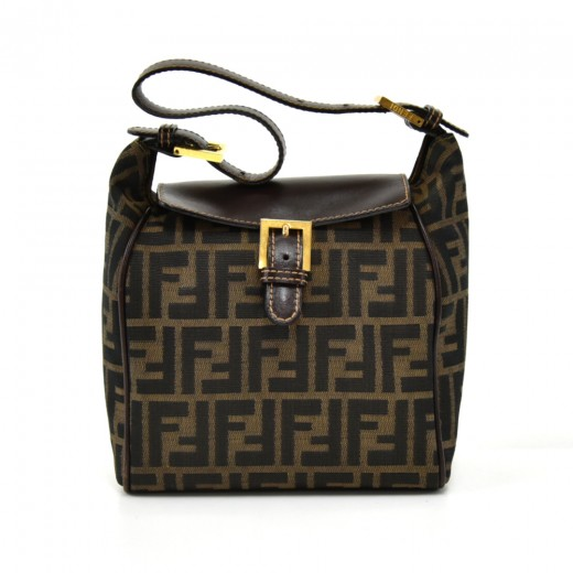 c556198b9ce5 Vintage Fendi Tobacco Zucca Canvas Buckled Top Flap Small Shoulder Bag