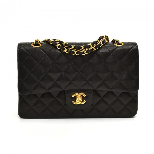 913a77f3cf8f40 Vintage Chanel 2.55 10 inch Double Flap Black Quilted Leather Shoulder Bag
