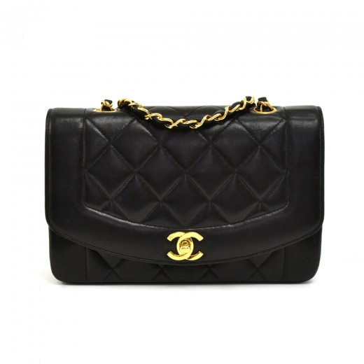 5ed5968cded5 Chanel Vintage Chanel Diana Classic Black Quilted Leather Shoulder ...
