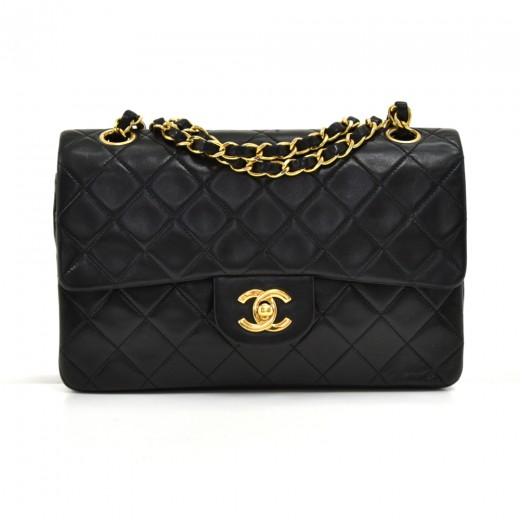 1b241db10eea Vintage Chanel 2.55 Double Flap Black Quilted Leather Shoulder Bag