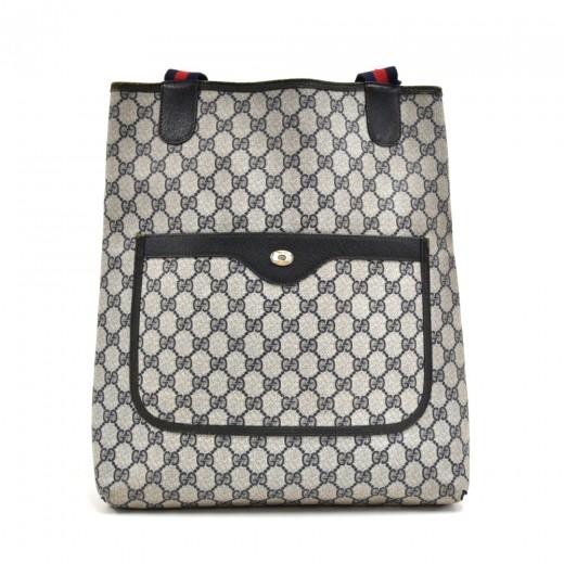 adfda34e32fa Vintage Gucci Accessory Collection Navy GG Supreme Monogram Coated Canvas  Shopper Tote Bag