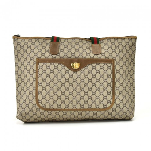 bf12669c3ceea Gucci Vintage Gucci Plus Beige GG Plus Coated Canvas Wide Shoulder ...