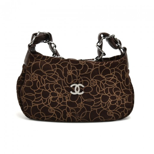 23f17ee83554d4 Chanel Chanel Camellia Pattern Brown Suede Leather Chain Shoulder ...