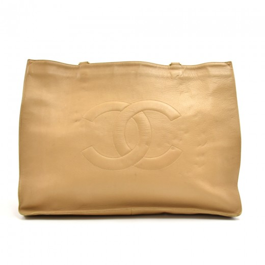 98b7d420a8ef Vintage Chanel Jumbo XL Beige Lambskin Leather Shoulder Shopping Tote Bag