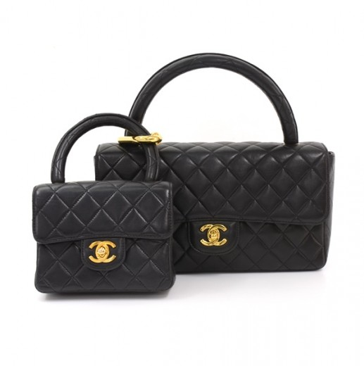 6b8cab40e8989e Chanel Vintage Chanel Black Quilted Leather Pair Handbag 2 in 1 Set ...
