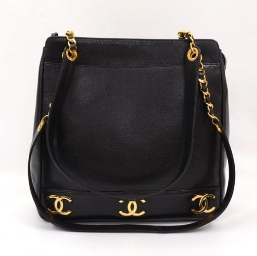 d3caacbb3d03 Chanel Vintage Chanel Black Caviar Leather Tote Shoulder Bag Gold ...
