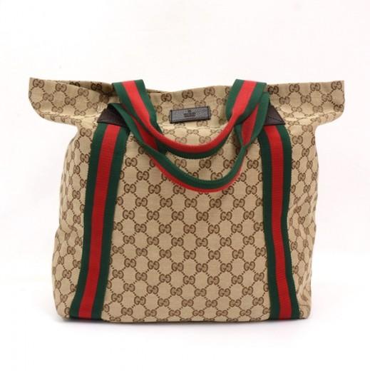 3265f55480bd Gucci Gucci GG Monogram Canvas Web Stripe Tote Bag