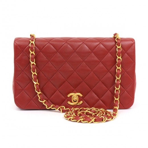 66c64b3b9b53 Chanel Vintage Chanel Red Quilted Leather Shoulder Bag Gold Chain CC ...