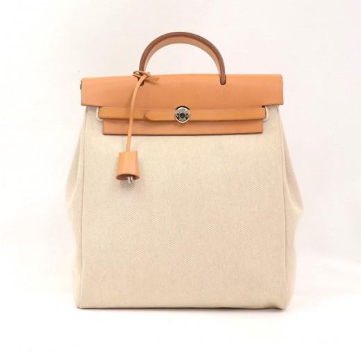 Hermes Hermes Beige Canvas Sand Leather Herbag Ado 2 in 1 Backpack ...