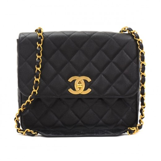 c527ab0a853d Chanel Vintage Chanel Black Caviar Quilted Leather Shoulder Bag CC