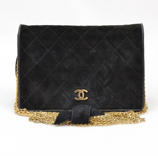 Chanel Chanel quilted Black suede leather party shoulder chain bag ... 0bba5b8cefbf3