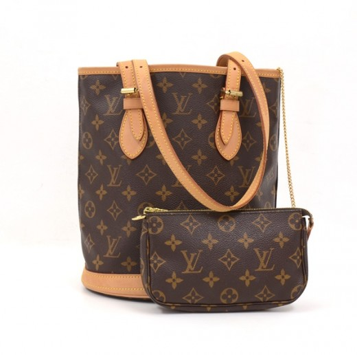 cd90fbc0681b Louis Vuitton Louis Vuitton Bucket PM Monogram Canvas Shoulder Bag + ...