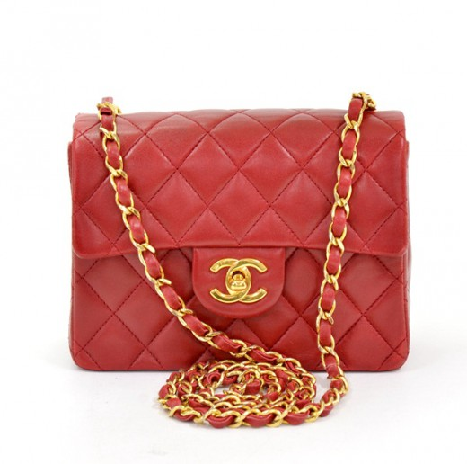 e0b3a671b240 Chanel Chanel Red Quilted Leather Mini Shoulder Bag Gold Chain X953