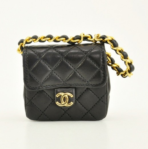 d2238367437872 Chanel Chanel Black Quilted Leather Tiny Charm Bag Gold Chain CC ...