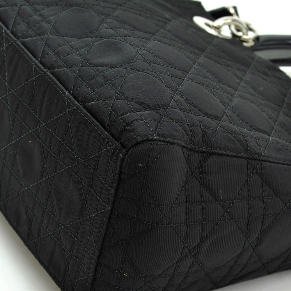 0bb7e59b34c Dior Christian Dior Lady Dior Black Quilted Fabric Handbag + Strap