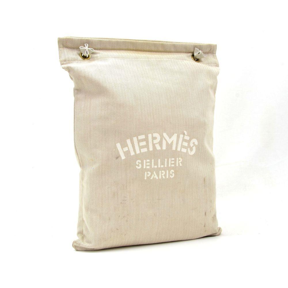 e498403073fc Hermes Hermes Aline Sellier Paris 34cm White Cotton Large Shoulder ...
