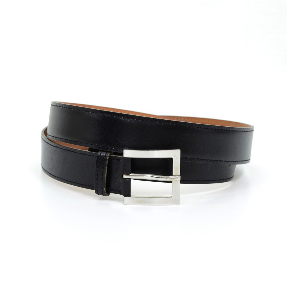 Hermes Burgundy X Beige Leather Silver Tone Belt Size 80