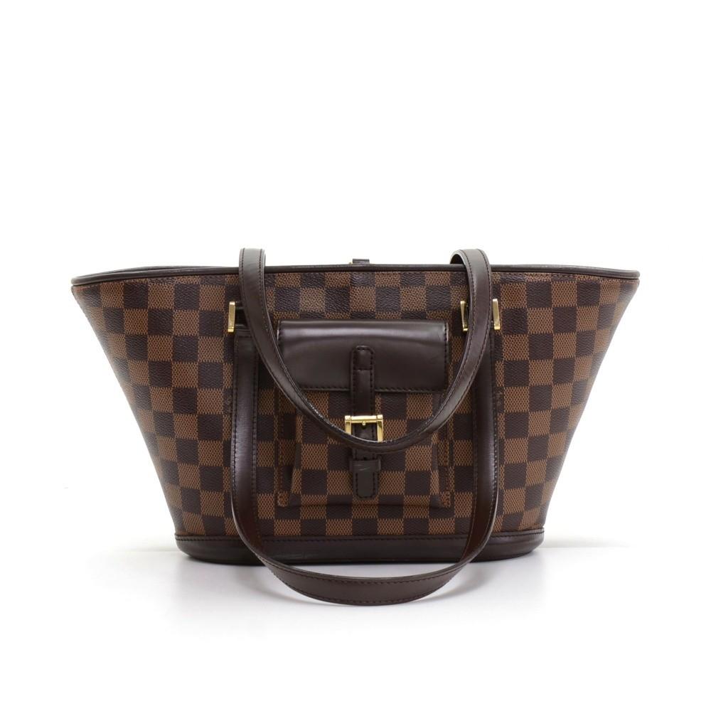 Louis Vuitton Louis Vuitton Manosque PM Ebene Damier Canvas Tote ... d706a712c53