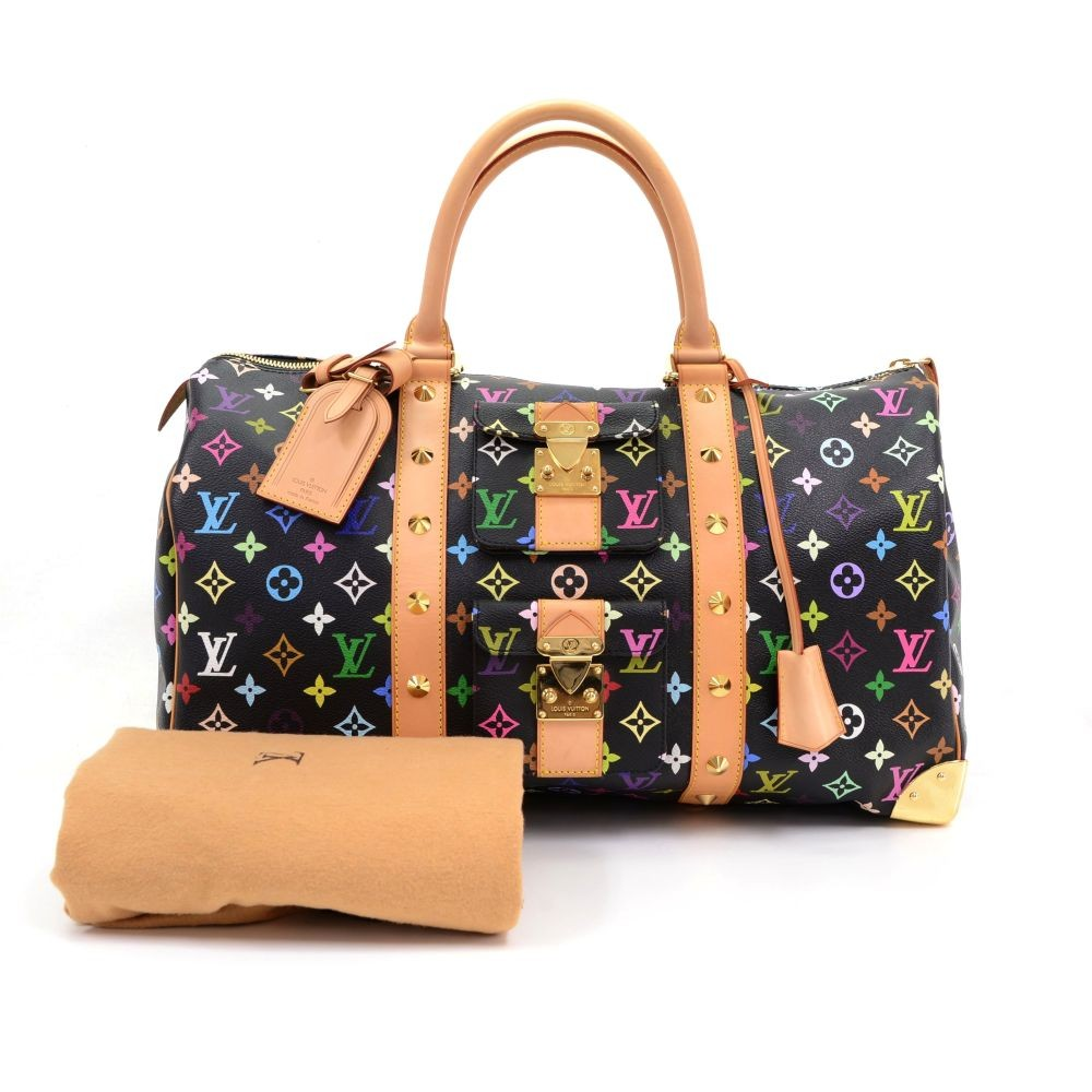 5329e2cba4d3 Louis Vuitton Keepall 45 Black Multicolor Monogram Canvas Duffle Travel Bag