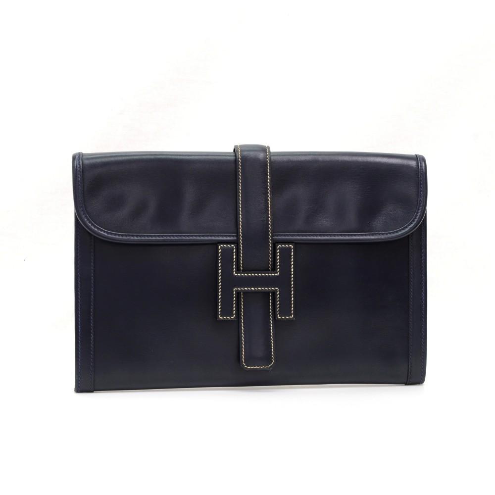 ce9036557eb5 Hermes Vintage Hermes Jige Navy Calf Leather Clutch Bag